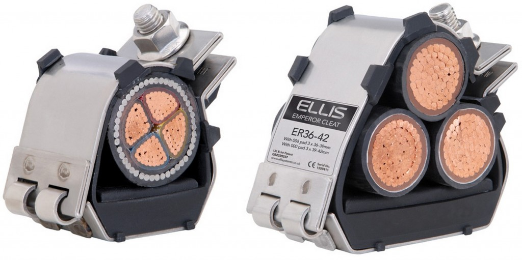 Ellis Patents Emperor Cable Cleats 235kA (Max Short Circuit Test Level) - extensively specified for cleating onshore and offshore LV & MV power cables to provide maximum levels of short circuit protection